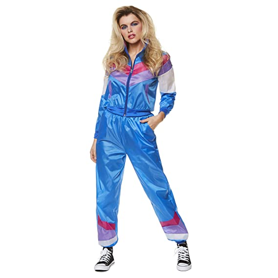 Karnival-1980s Ladies Shell Suit Disfraz Color azul Small 81331 ...