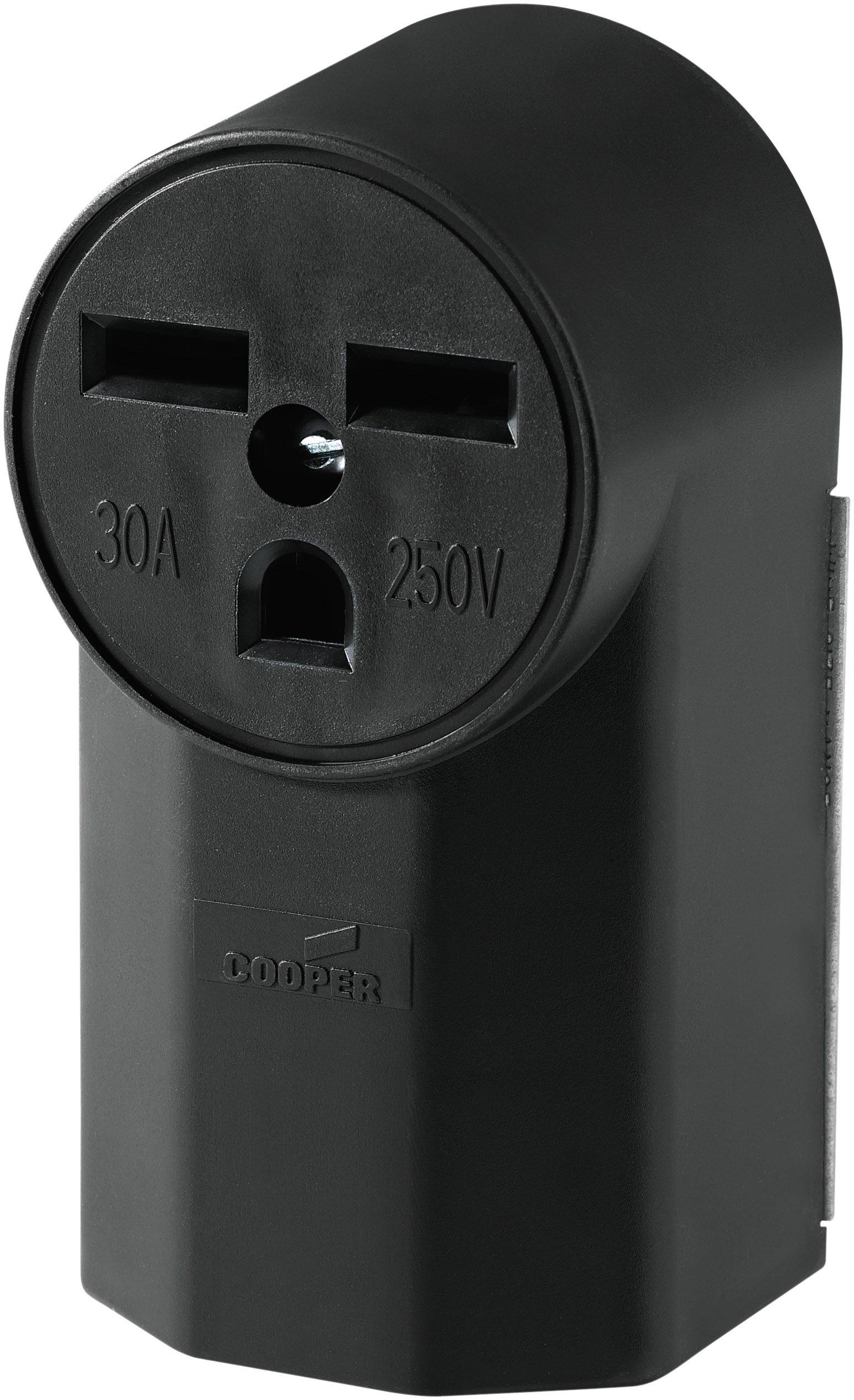 Eaton WD1232 30-Amp 2-Pole 3-Wire 240-Volt Surface Mount Power Receptacle, Black