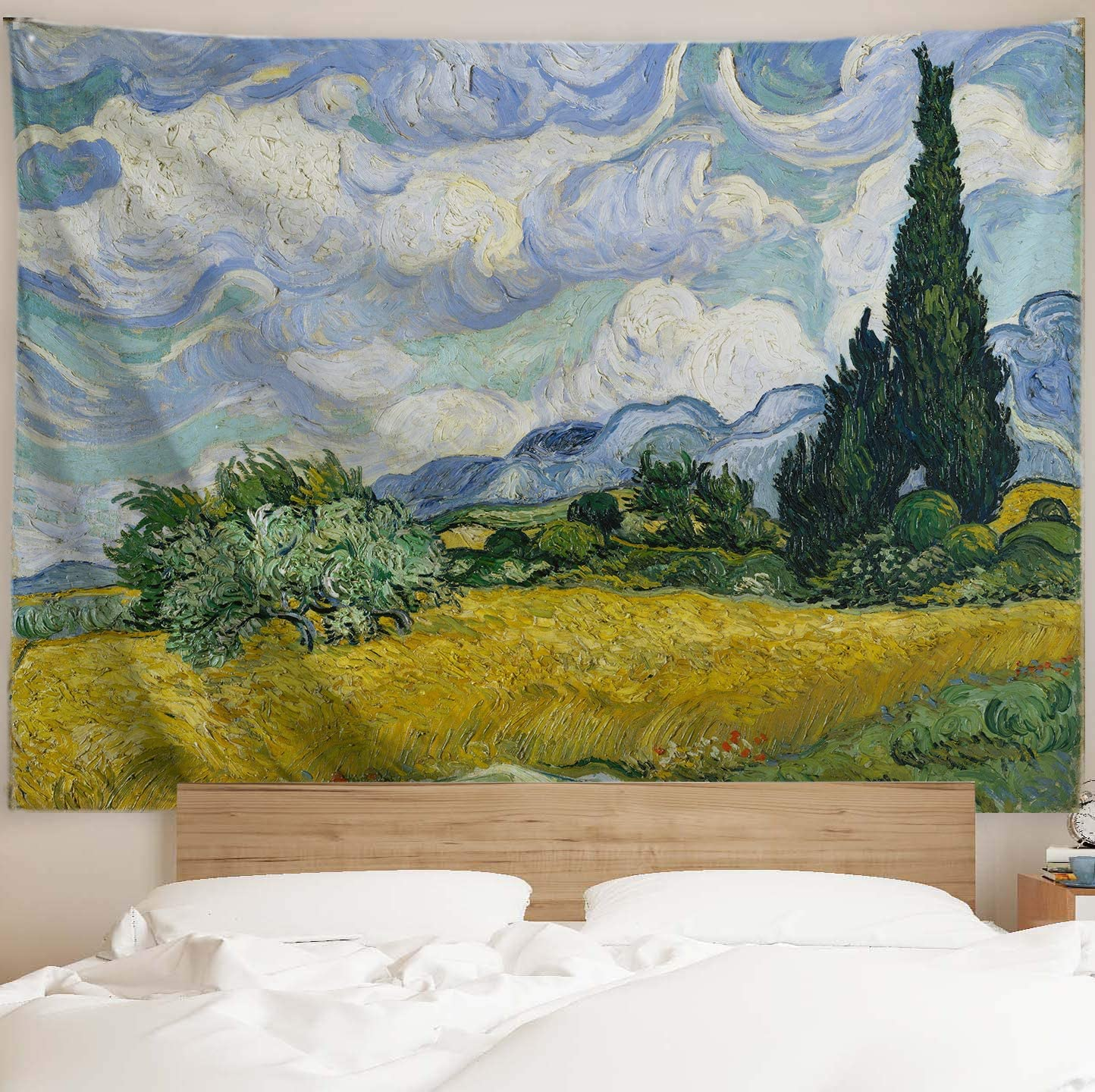 PROCIDA Van Gogh Tapestry Wall Hanging Wheat Field with Cypresses Oil Painting Nature Plant Floral Wall Art Home Decor for Dorm Bedroom Living Room, 90 W x 71 L, Wheat Field with Cypresses
