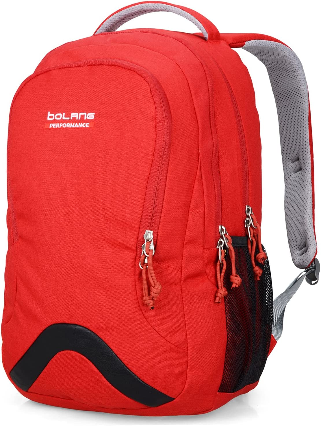 BOLANG College Backpack for Men Water Resistant Travel Backpack Women Laptop Backpacks Fits 16 Inch Laptop Notebook 8474 (bright red)