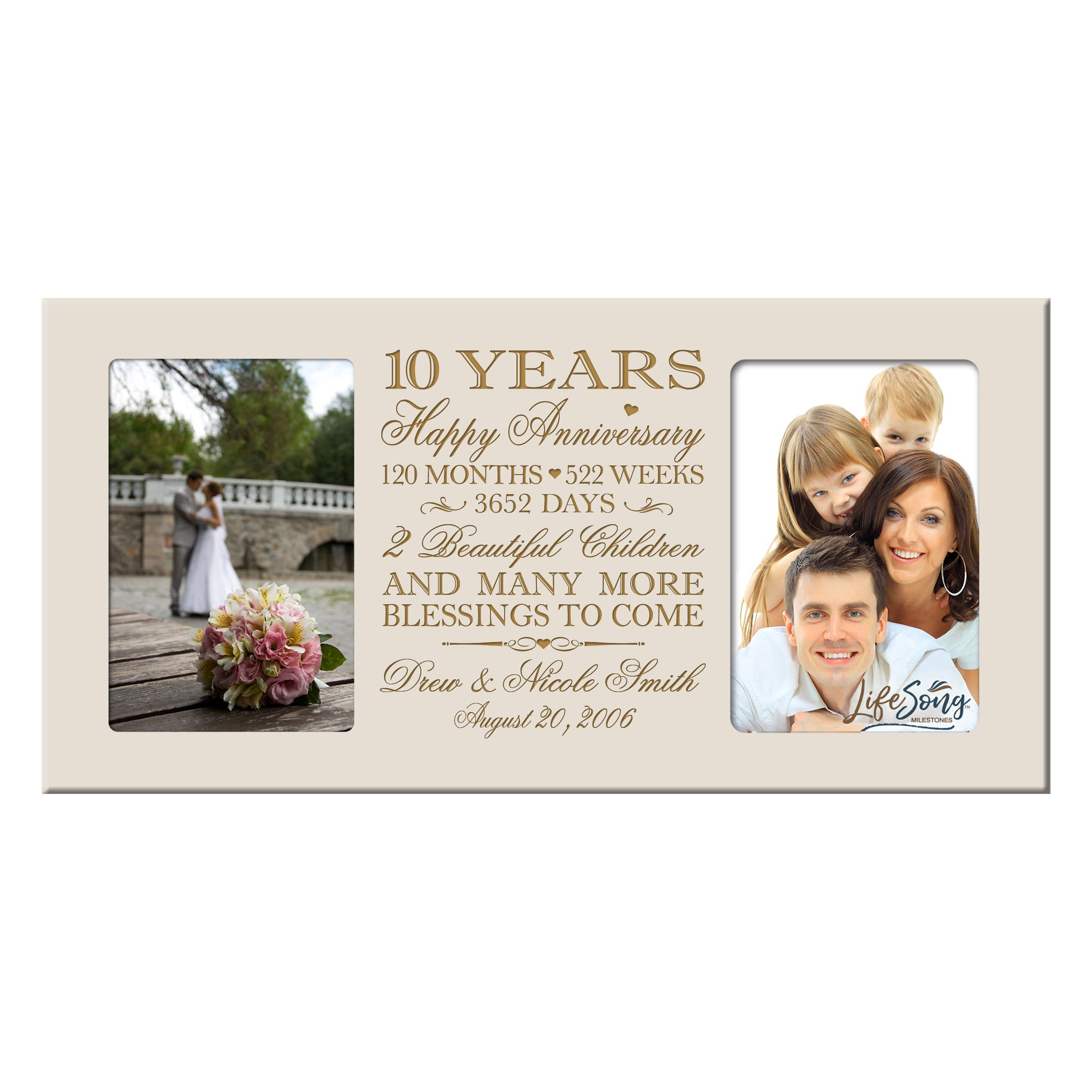 LifeSong Milestones Personalized Ten Year her him Couple Custom Engraved Wedding Celebration for Husband Wife Girlfriend Boyfriend Photo Frame Holds Two 4x6 Photos (Ivory)