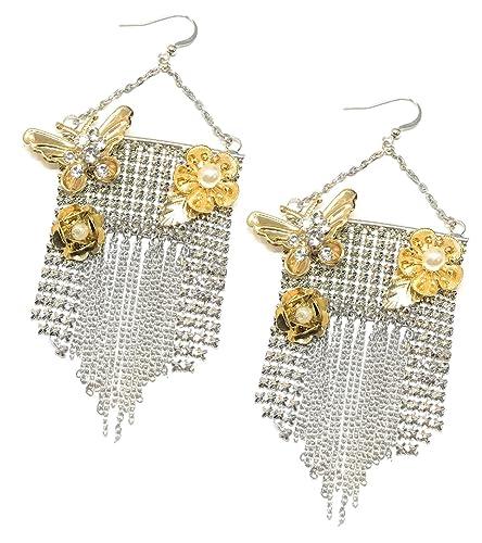 Fashion Silver Wome Rhinestone Earring Beaded Ear Hoop Dangle Jewelry Z