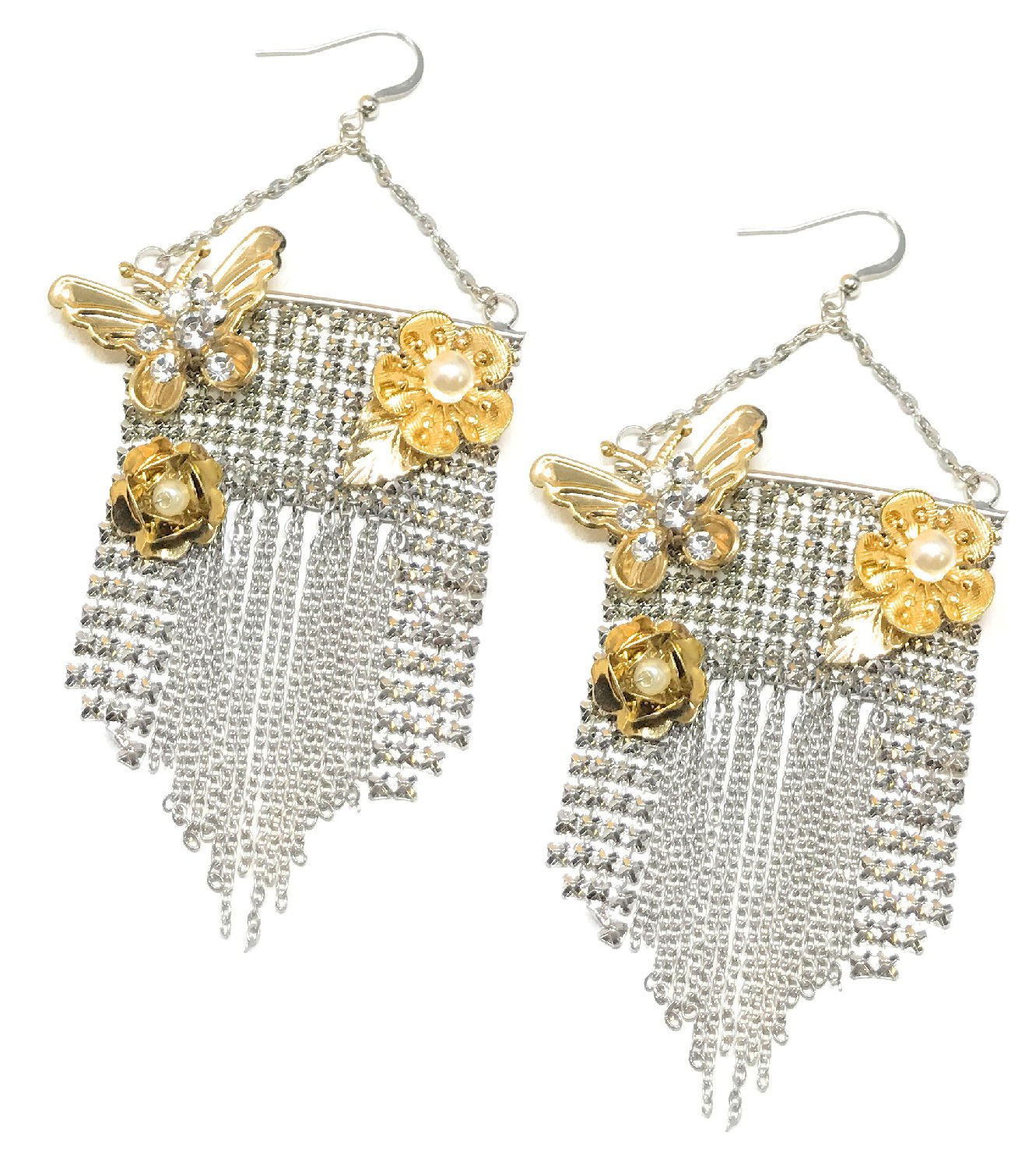 Fashion Glam Rhinestone Butterfly Rose Silver-Plate Mesh Chain Dangle Earrings Set