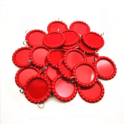 HAWORTHS 200 PCS Flat Decorative Bottle CaP Craft Bottle Stickers Double Sideds Printed for Hair Bows DIY Pendants or Craft ScraPbooks Dark Red