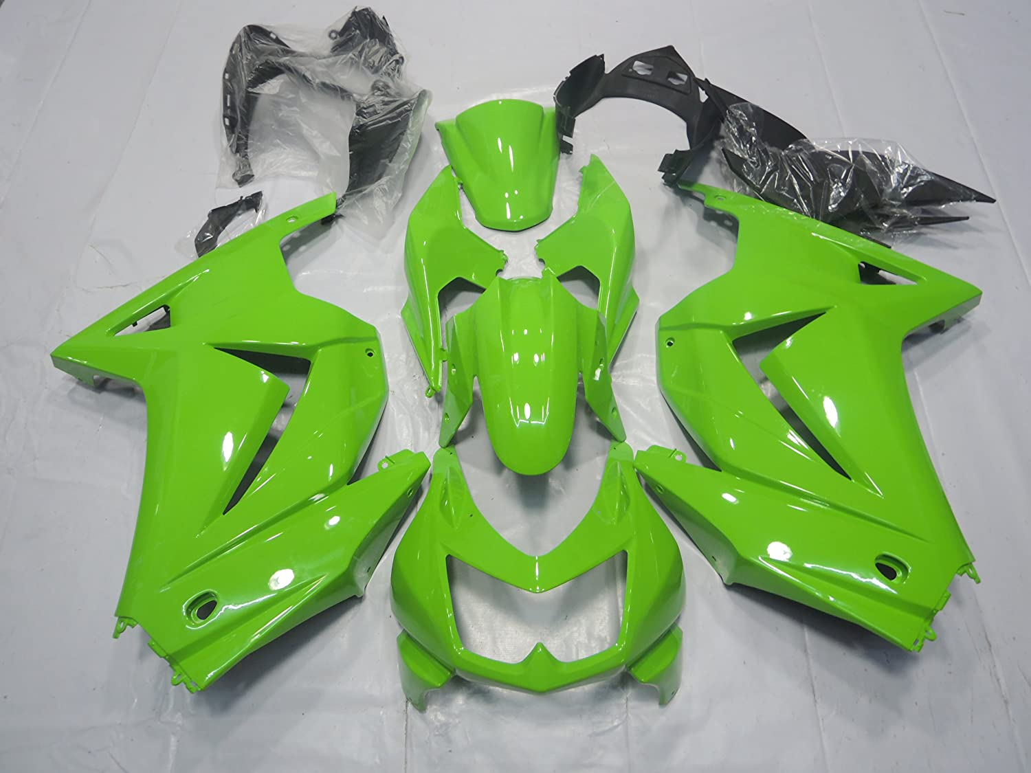 ZXMOTO K0208GRN ABS Motorcycle bodywork Fairing Kit for Kawasaki Ninja 250R EX250 2008 2009 2010 2011 2012 Green - (Pieces/kit: 15)