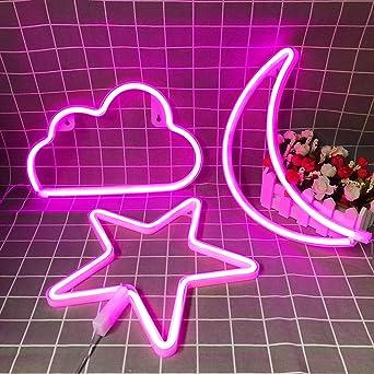 Pinke Neonschilder Stern Mond Und Wolke Nachtlicht Dekorative Led Lampe Kunst Wanddekoration Fur Madchen Schlafzimmer Geburtstagsparty Stromversorgung Durch Batterie Usb Pink Amazon De Beleuchtung