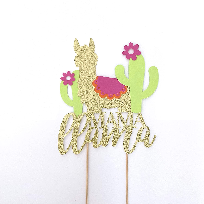 Cactus Llama Decor Cactus Baby Shower Llama Baby Shower Decor Baby Llama Fiesta Baby Shower Mama Llama Cake Topper Llama Centerpiece