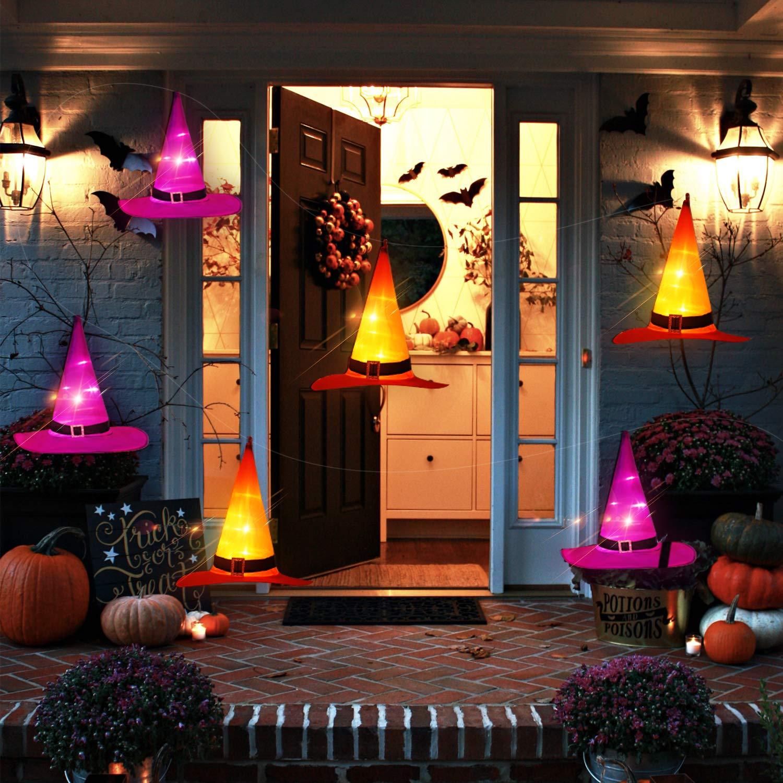ORIENTAL CHERRY Halloween Lights - 6PCS IP67 Waterproof Hanging Witch Hat String Lights Luminaries - Halloween Decorations Outdoor for Porch Patio Pathway Garden Gate Yard Birthday Party by ORIENTAL CHERRY