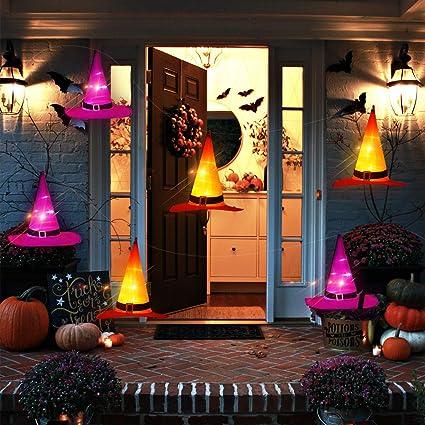 Oriental Cherry Halloween Lights 6pcs Ip67 Waterproof Hanging Witch Hat String Lights Luminaries Halloween Decorations Outdoor For Porch Patio