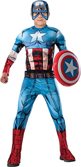 Avengers - Disfraz de Capitan America Premium para niño, 5-6 años ...