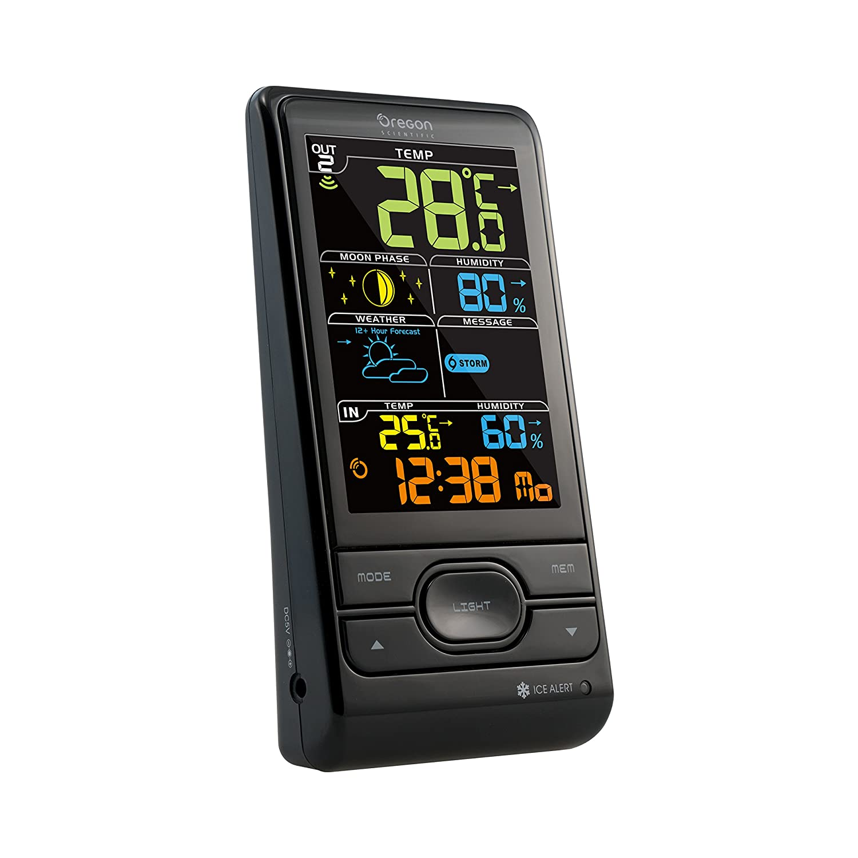 Estación meteorológica y monitor de humedad interior/exterior avanzada, Oregon BAR-208-SX