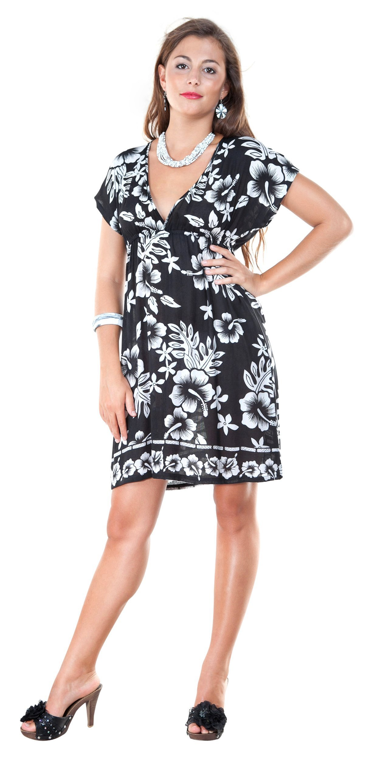 1 World Sarongs Womens Hibiscus Black and White Cover-Up Tunic Short Dress Large