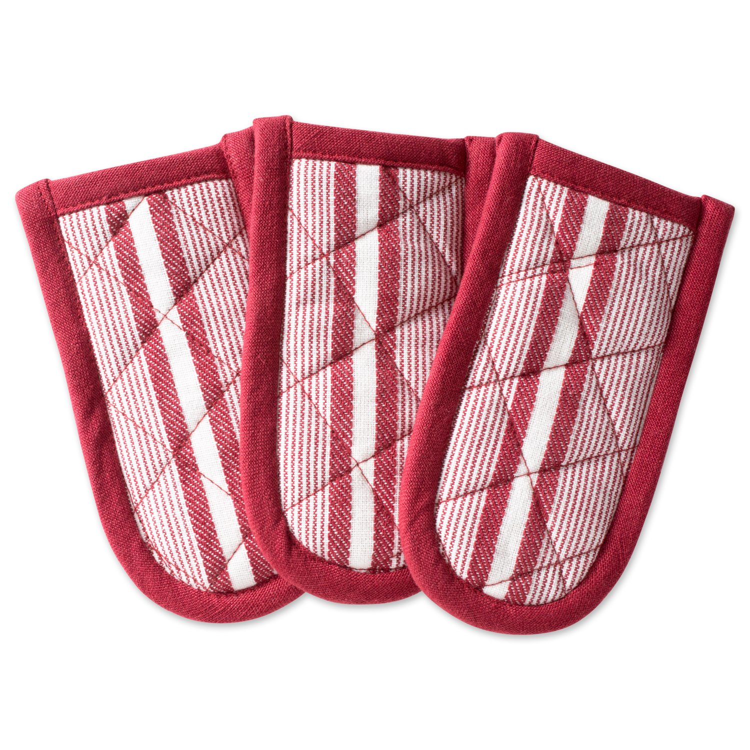 """DII Cotton Stripe Quilted Pan Handle, 6x 3"""" Set of 3, Machine Washable and Heat Resistant for Everyday Kitchen Cooking and Baking-Barn Red"""