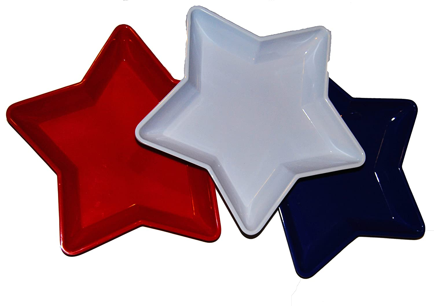Patriotic Star-shaped Food Trays 3pk (Red, White, and Blue)