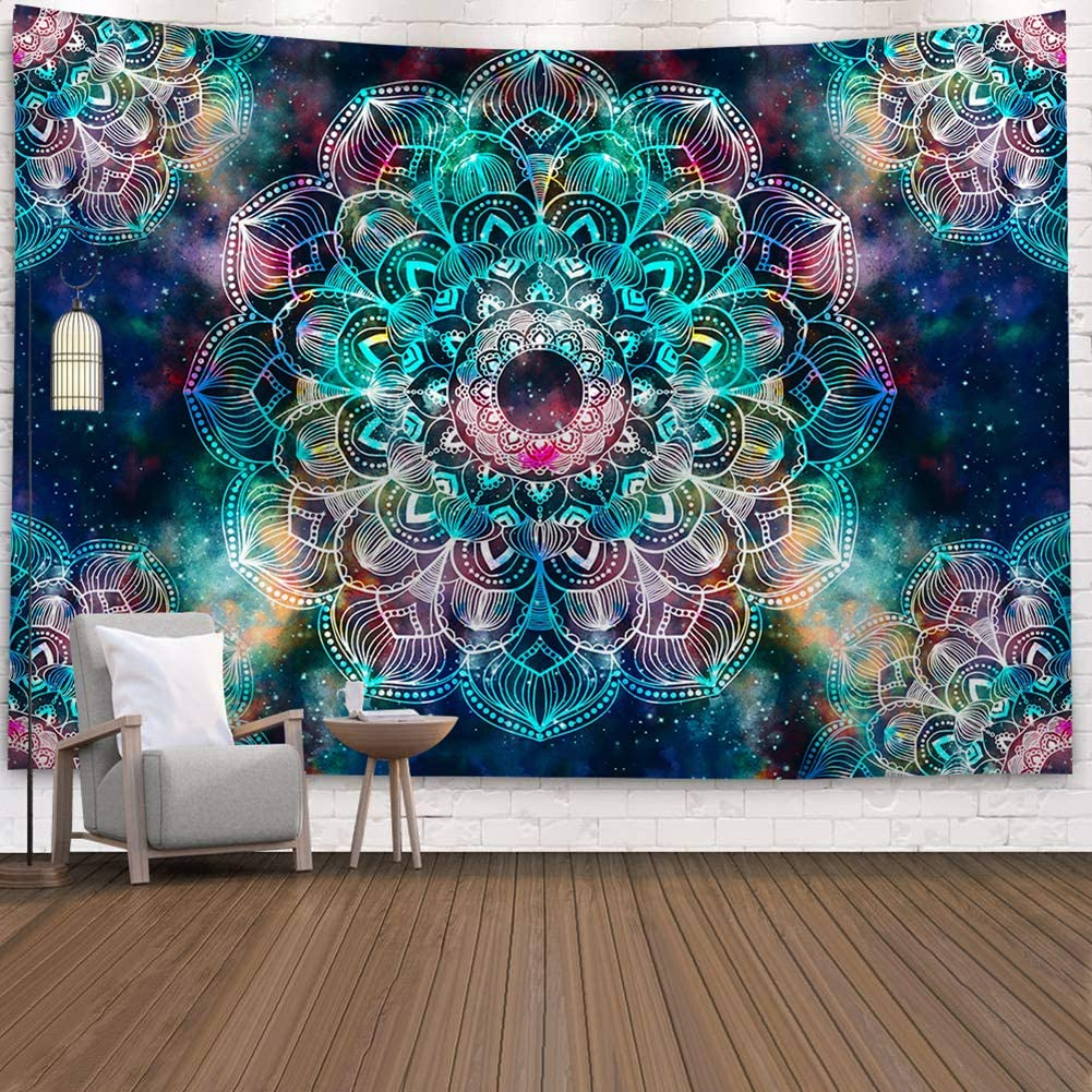 SHINE-CO LIGHTING Bohemia Tapestry Mandala Polyester Tapestries Hippie Wall Hanging Decor for Living Room Bedroom Dorm 51 x 60 Inches (Colorful Mandala)