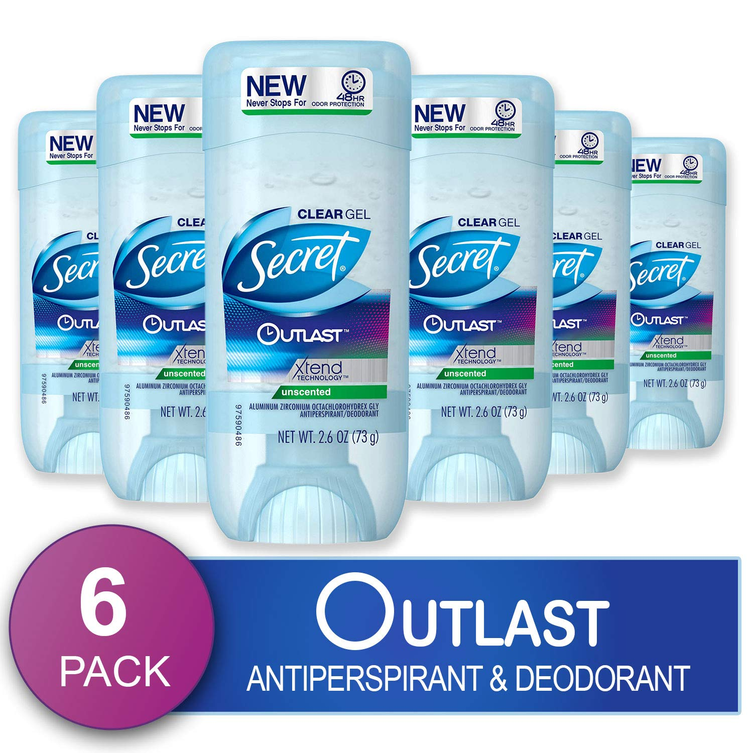 Secret Antiperspirant Deodorant for Women, Unscented, Clear Gel, Outlast Xtend, 2.6 Oz (Pack of 6) (Packaging May Vary) by Secret