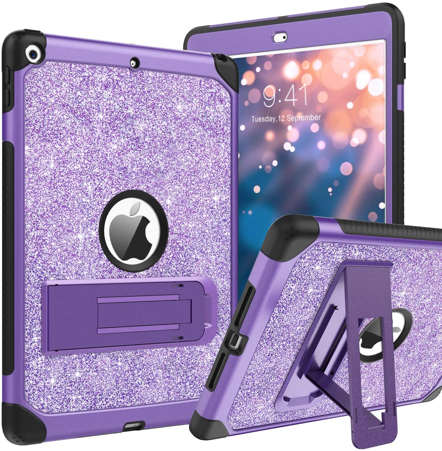 BENTOBEN iPad 8th Generation Case, iPad 7th Generation Case, iPad 10.2 2020 / 2019 Case, Glitter Sparkly 3 Layers Shockproof Kickstand Protective Tablet Cover for iPad 10.2 Inch 2020 / 2019, Purple