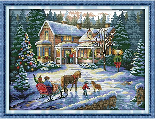 Roeam 57X44cm DIY Handmade Counted Cross Stitch Needlework Set Embroidery Kit Christmas Scenery Home Decoration 14CT