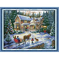 Decdeal Anself 57 * 44cm DIY Handmade Counted Cross Stitch Needlework Set Embroidery Kit Christmas Scenery Home Decoration-White Cloth