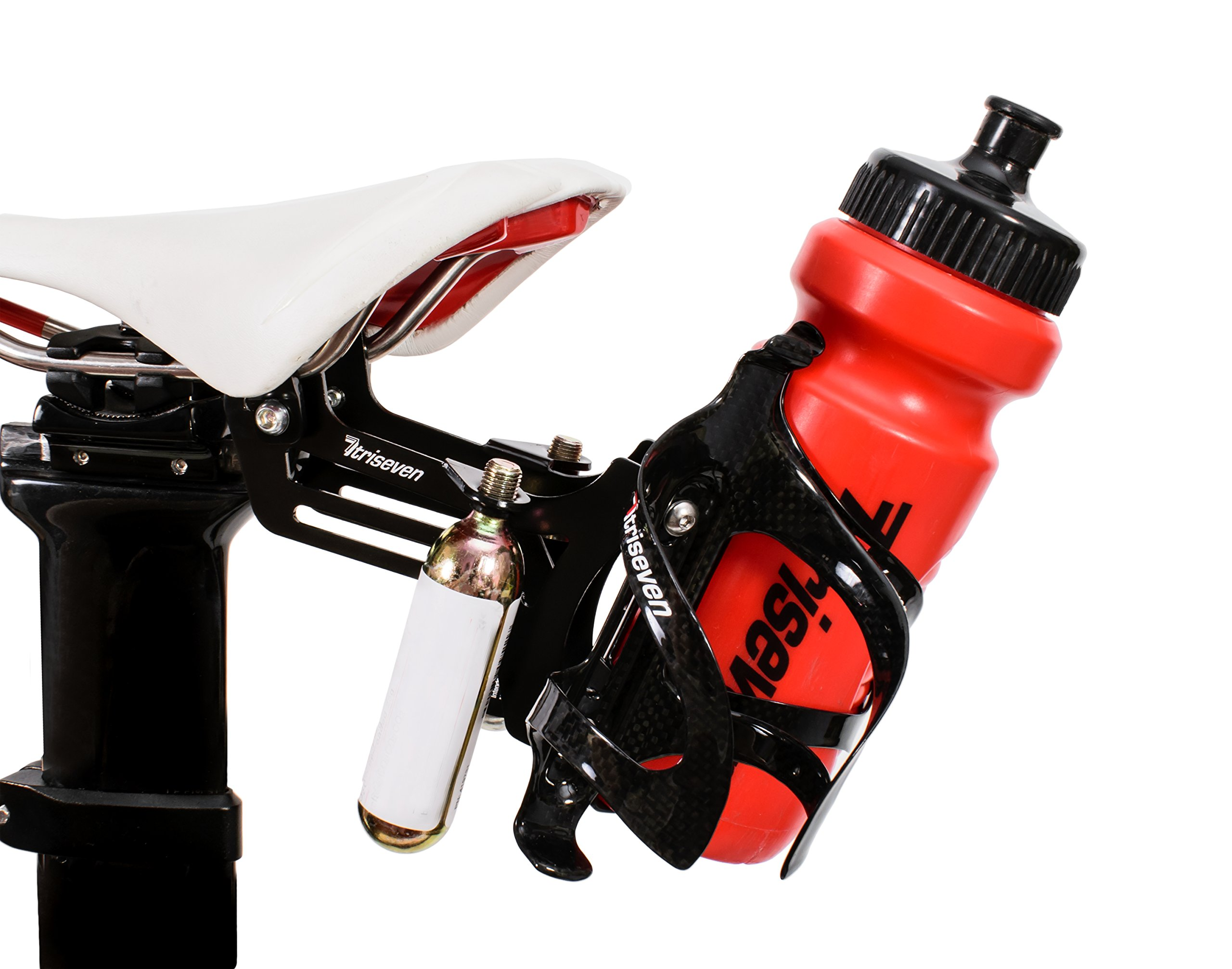 TriSeven Premium Cycling Saddle Cage Holder - Lightweight for Triathlon & MTB, Holds 2 Water Bottles & 2 co2 Cartridges | Does NOT Include Water Cages! by TriSeven (Image #4)
