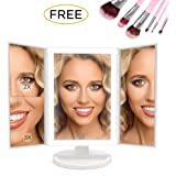 MAKEUP MIRROR LED Lights New Style Magnification 1x2x3 For your CLEAREST Reflection Trifold with 180 Degrees Rotation Dual Power White By Angelgear