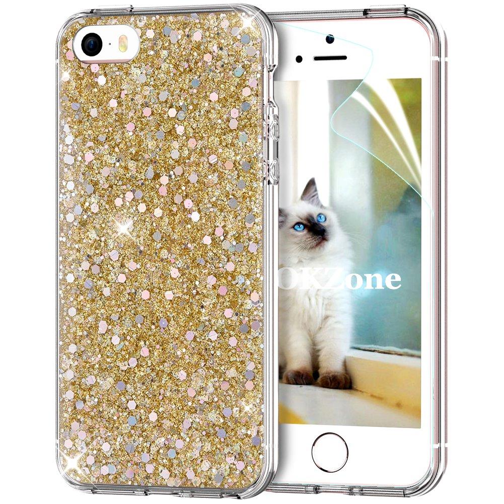 Coque iPhone SE, Coque iPhone 5S, Coque iPhone 5 [avec Film de Protection écran HD], OKZone Mince Étui en silicone souple Paillette Strass Brillante Bling Bling Glitter de Luxe, Flexible Plein-Corps TPU Résistant à la Goutte Bumper Housse Etui de Protectio