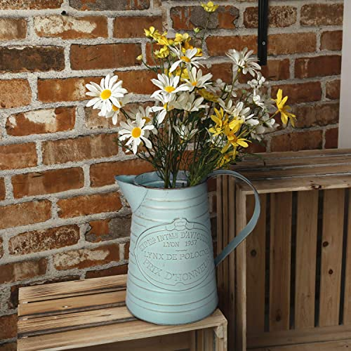 APSOONSELL Shabby Chic Metal Jug Vase Pitcher Flower Holder for Home Decoration