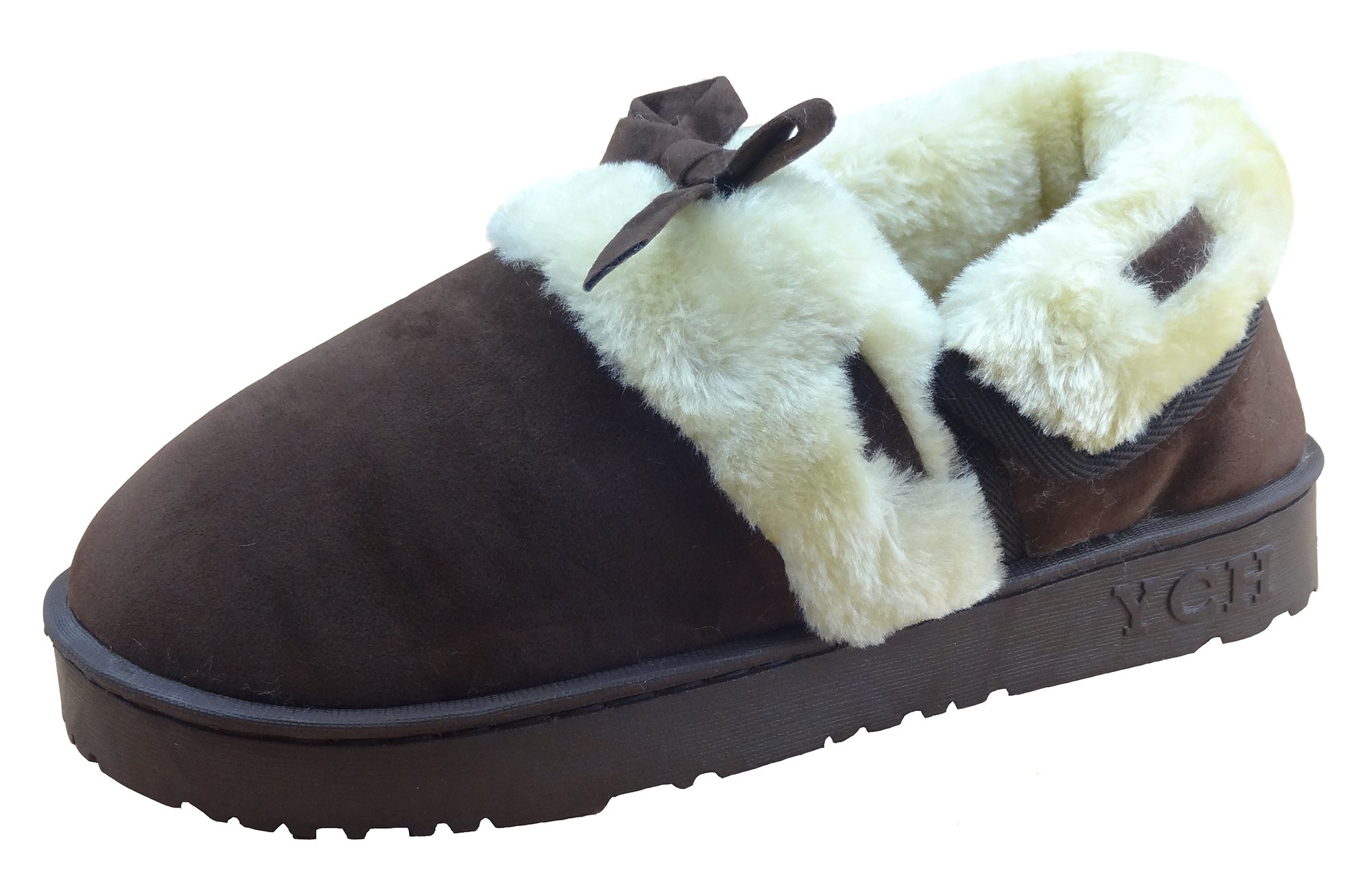 IDIFU Boy's Girl's Bow Closed-Back Faux Fur Home Outdoor Slippers Boots Brown 12-13.5 M US Little Kid