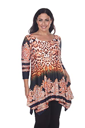 16d470d3593 White Mark Funky Victorian Cheetah Print Plus Size Saige Tunic top Shirt 1x  2X 3X 4X Red Orange at Amazon Women's Clothing store: