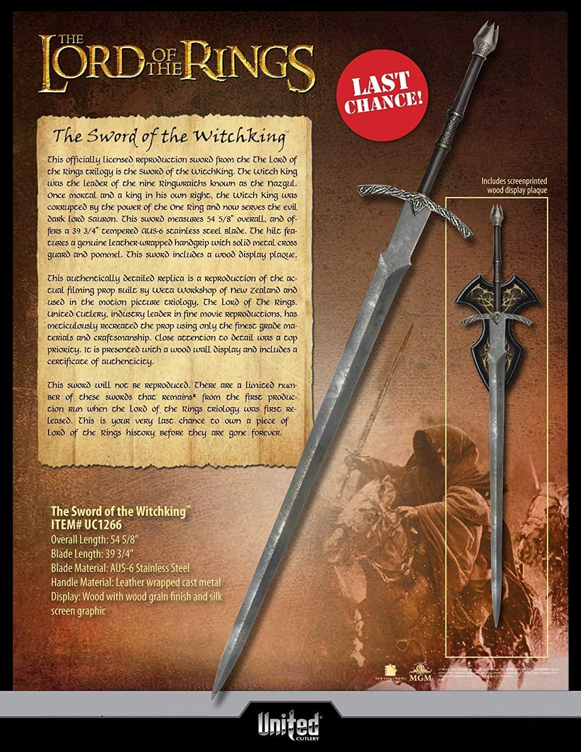 Lord of the Rings cosplay Nazgul Sword
