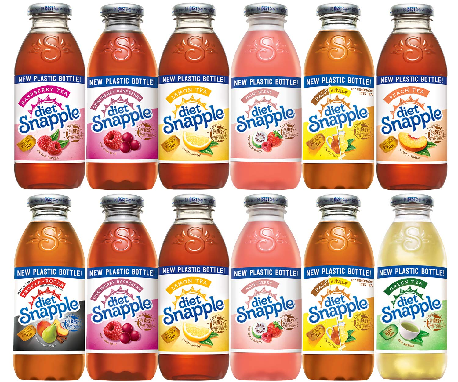 Diet Snapple Variety Pack, 16 fl oz (12 Plastic Bottles)