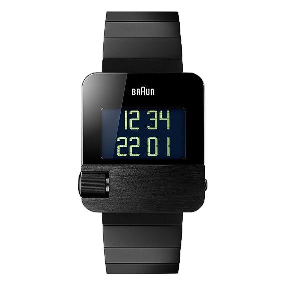 Braun BN0106BKBTG - Reloj digital con correa de chapada en acero inoxidable para hombre, color negro: Amazon.es: Relojes