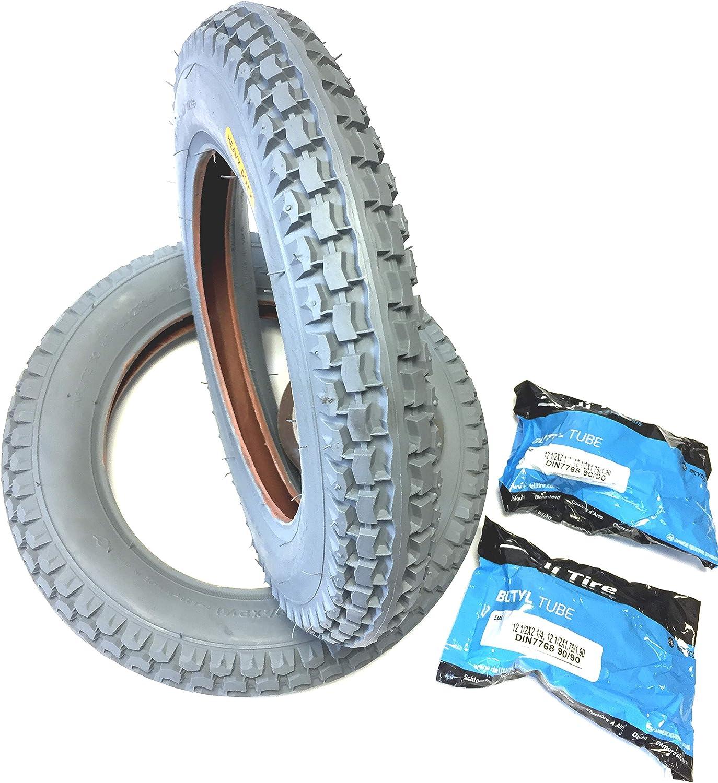 Silla 2 neumáticos 12 1/2 x 2 1/4 (ETRTO 62 - 203) gris, 2 unidades de ángulo de manguera Válvula 90 °/90 °, neumáticos neumáticos profundo