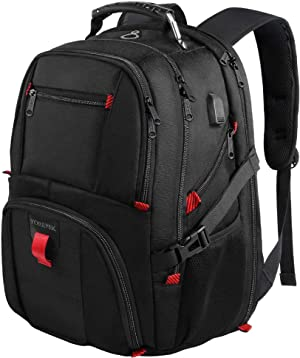 YOREPEK Backpacks for Men,Extra Large 50lL Travel Backpack with USB Charging Port,TSA Friendly Business College Bookbags Fit 17 Inch Laptops,Black