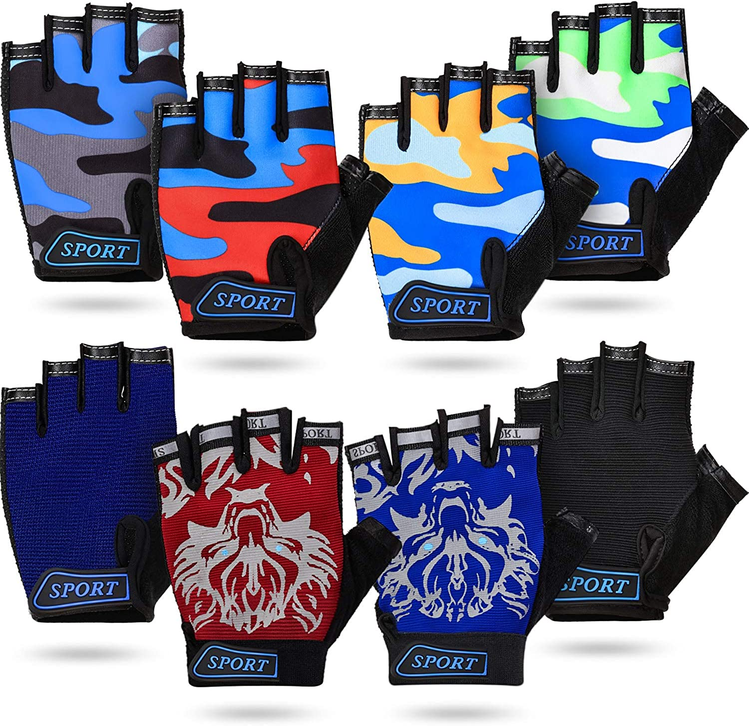 8 Pairs Kids Half Finger Gloves Fingerless Bicycle Gloves Breathable Kids Short Finger Gloves Non-Slip Outdoor Sports Gloves for Children Cycling Climbing Riding, 8 Colors