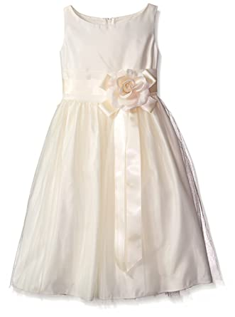 151da43637 Sweet kids Girls Vintage Satin Tulle Special Occasion Flower- 2T - Ivory