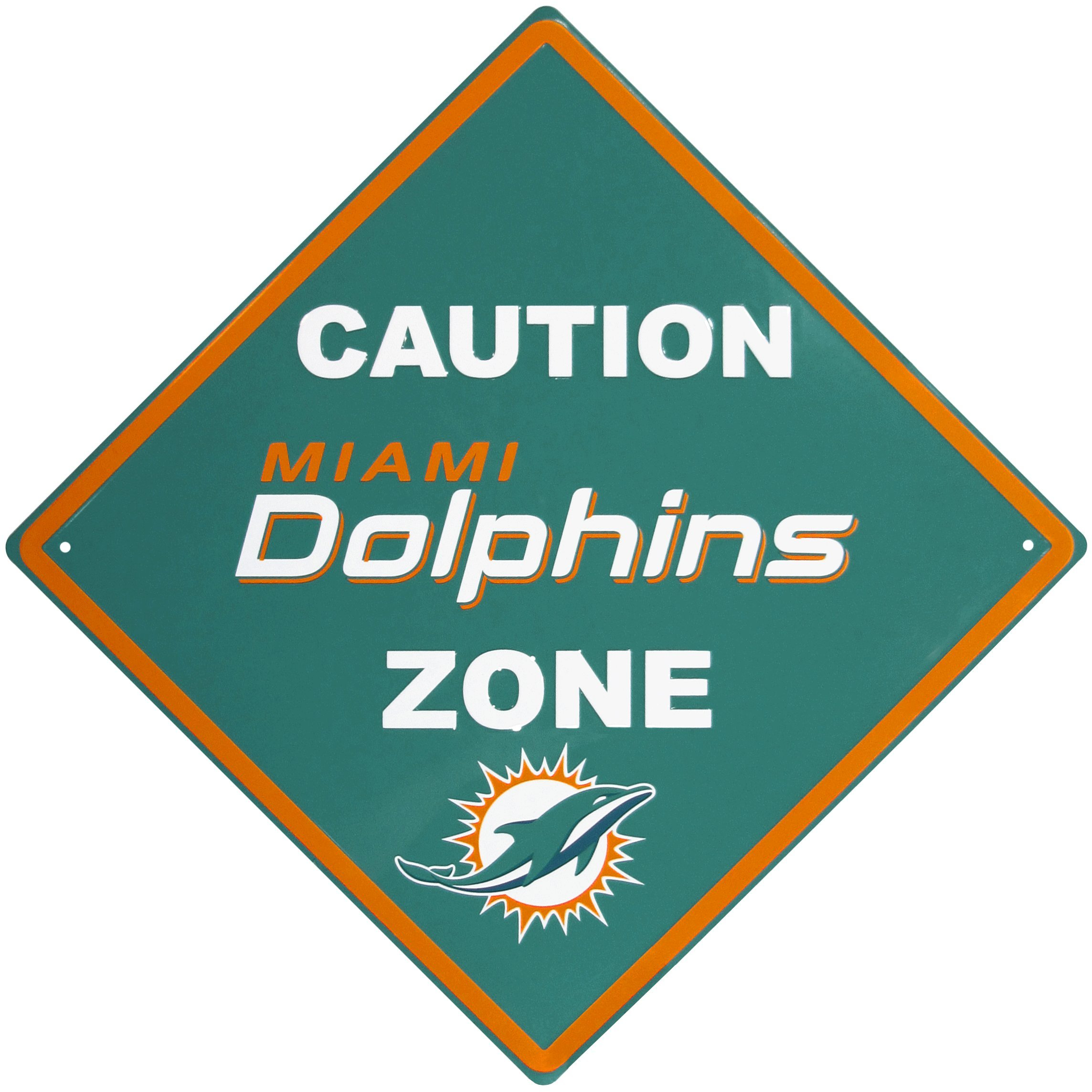 NFL Miami Dolphins Caution Wall Sign Plaque, 14'' by Siskiyou