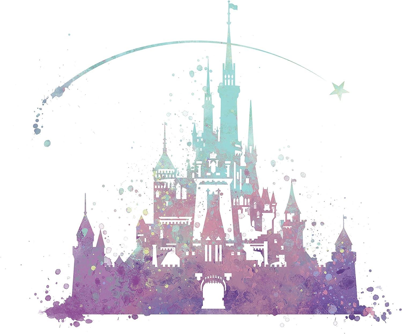 8x10 P02 Disney castle poster. Inspired watercolor illustration.Cinderella Disney Princess Castle art Print.Wall art.Kids Art.Birthday gift for kids
