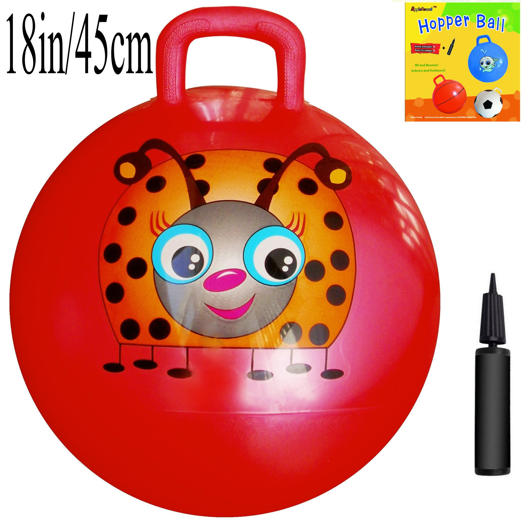 AppleRound Space Hopper Ball: Red, 18in/45cm Diameter for Ages 3-6, Pump Included (Hop Ball, Kangaroo Bouncer, Hoppity Hop, Sit and Bounce, Jumping Ball)