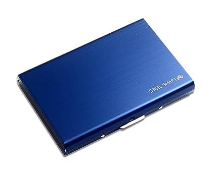 813348286d Steel Smart Porta Carte di Credito con Tecnologia Anti RFID, Porta Tessere  Custodia in Acciaio Inox Satinato per Uomo e Donna, Blu