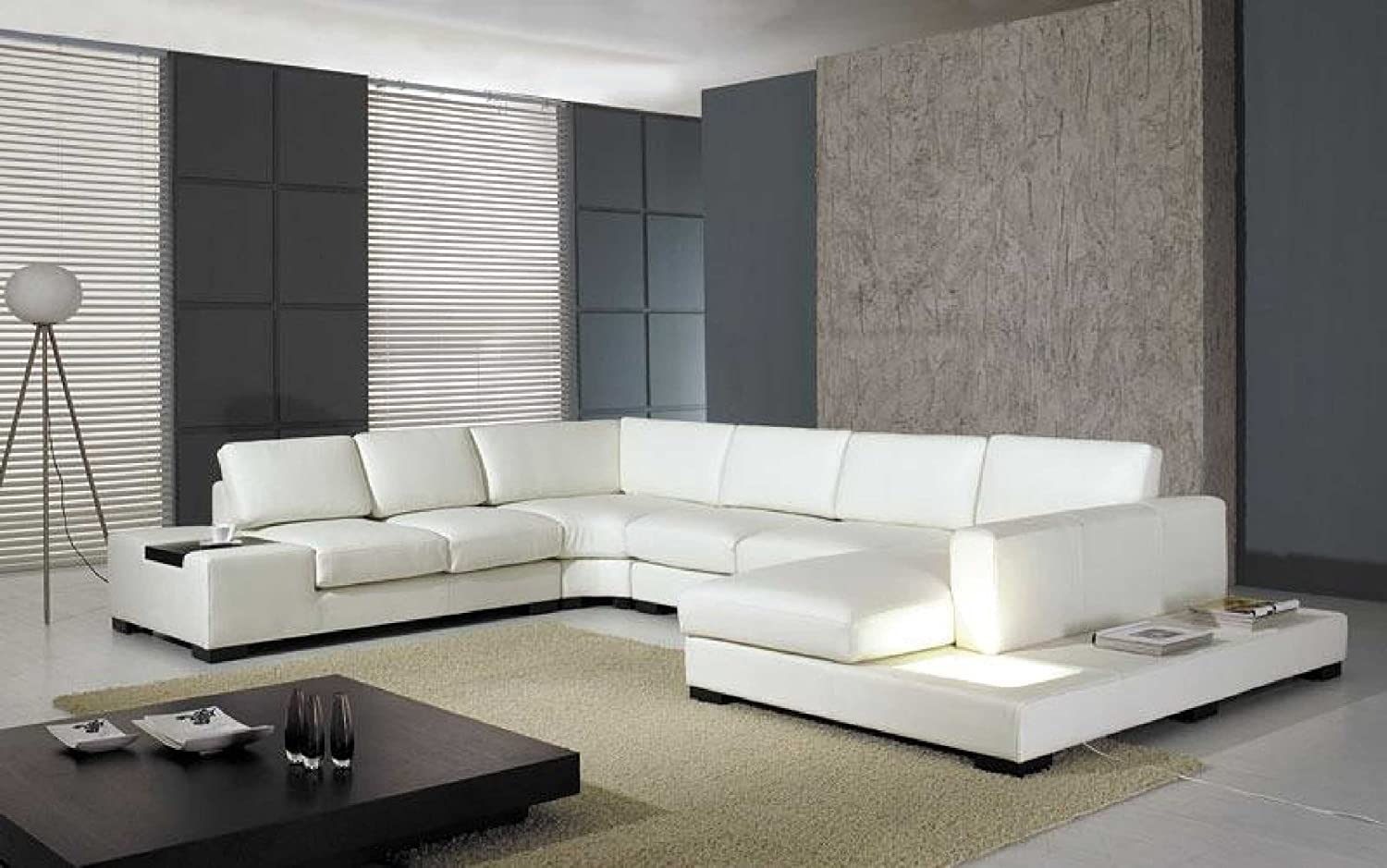 . Amazon com  T35 White Leather Sectional With Light  Kitchen   Dining