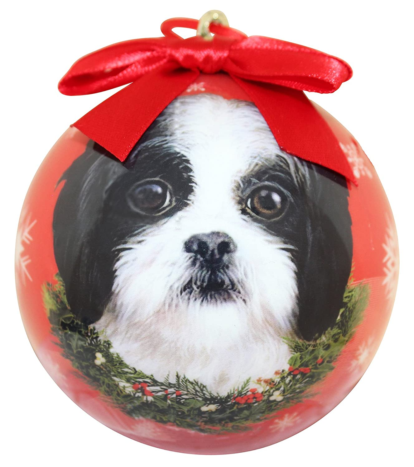 Shih Tzu Christmas Ornament Shatter Proof Ball Easy To Personalize A Perfect Gift For Shih Tzu Lovers E&S Pets black Christmas Ornament