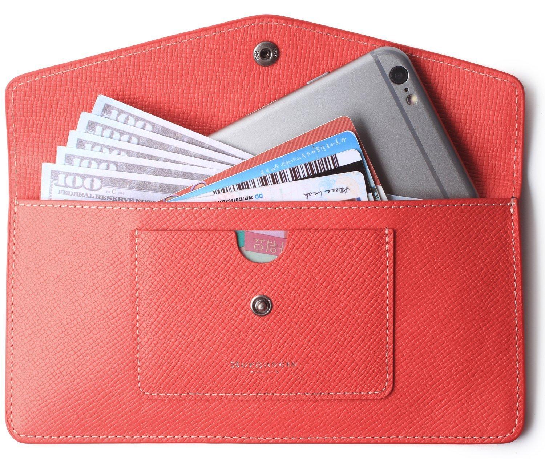 Women's Wallet Leather RFID Ultra-thin Envelope Ladies Purse Travel Clutch (Crosshatch Red)