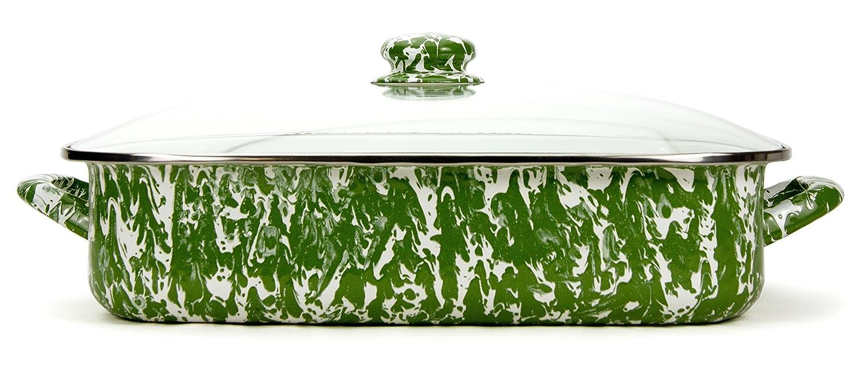 Enamelware -Green Swirl Pattern -16 x 12.5 x 4 inch Lasagna Pan Set Golden Rabbit GR15