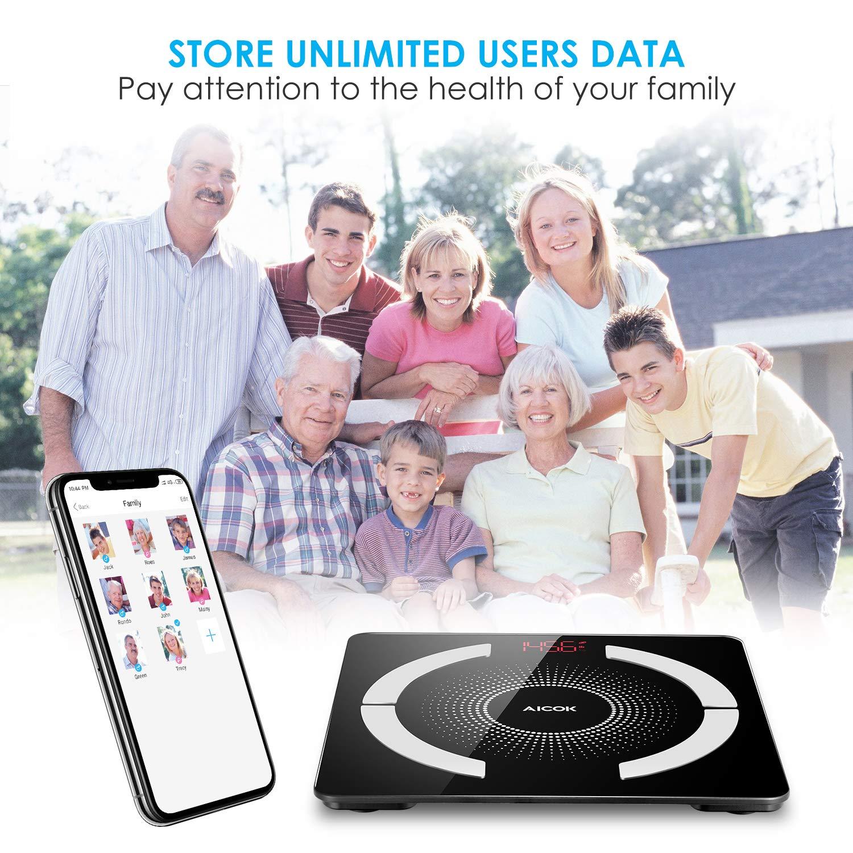 Aicok Báscula de Baño, Bluetooth Báscula Grasa Corporal con IOS y Android Smart App, Multifunción Medición de La Composición Corporal, Máximo ...