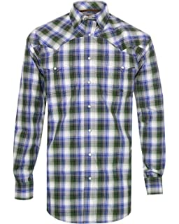 9b78b6a4 Miller Ranch Mens Dark Brown & Navy Plaid Shirt at Amazon Men's ...