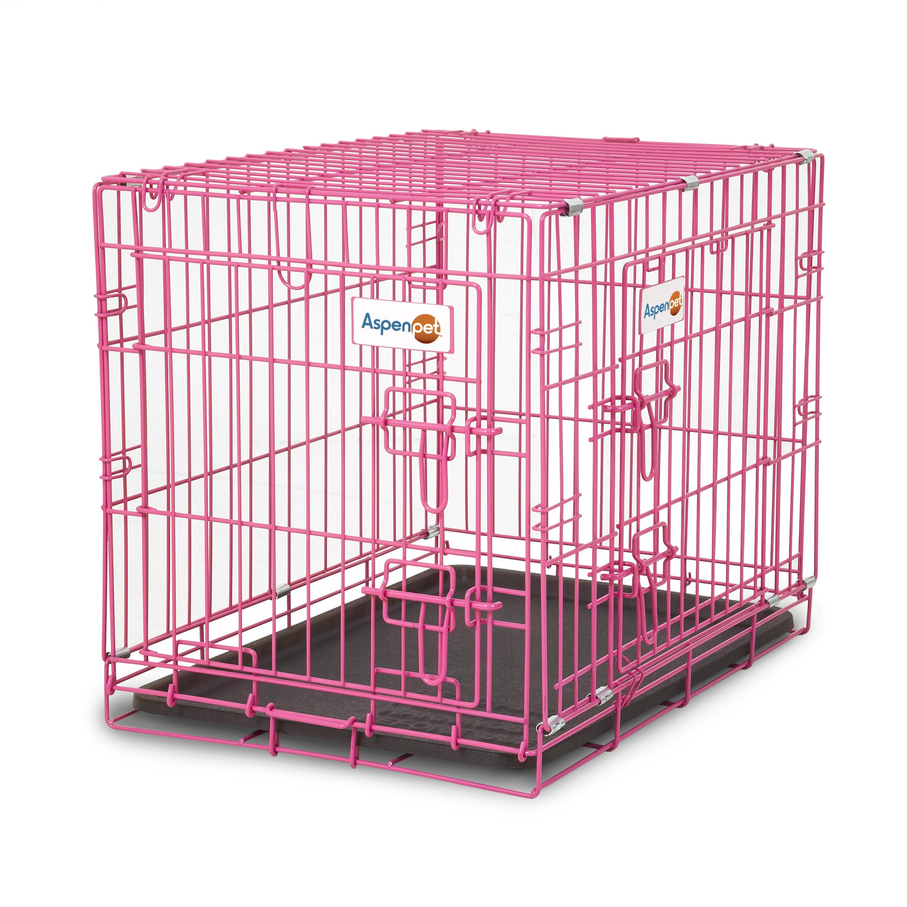 Aspen Pet Puppy 2-Door Training Retreat Crate, 24'', Pink