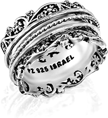 925 Sterling Silver Wide Band Meditation Ring Statement Spinner All Size UK-190