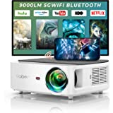 YABER V6 WiFi Bluetooth Projector 9000L Upgrade Full HD Native 1920×1080P Projector, 4P/4D Keystone Support 4k&Zoom, Portable