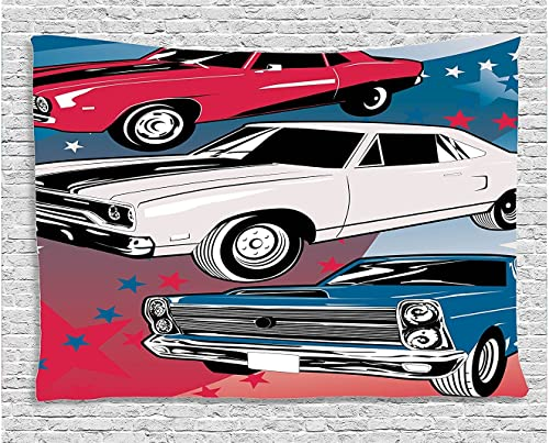 Ambesonne Cars Tapestry, Pop Art Group of Nostalgic American Muscle Cars with Stars Antique Print, Wide Wall Hanging for Bedroom Living Room Dorm, 60 X 40 , Beige Blue